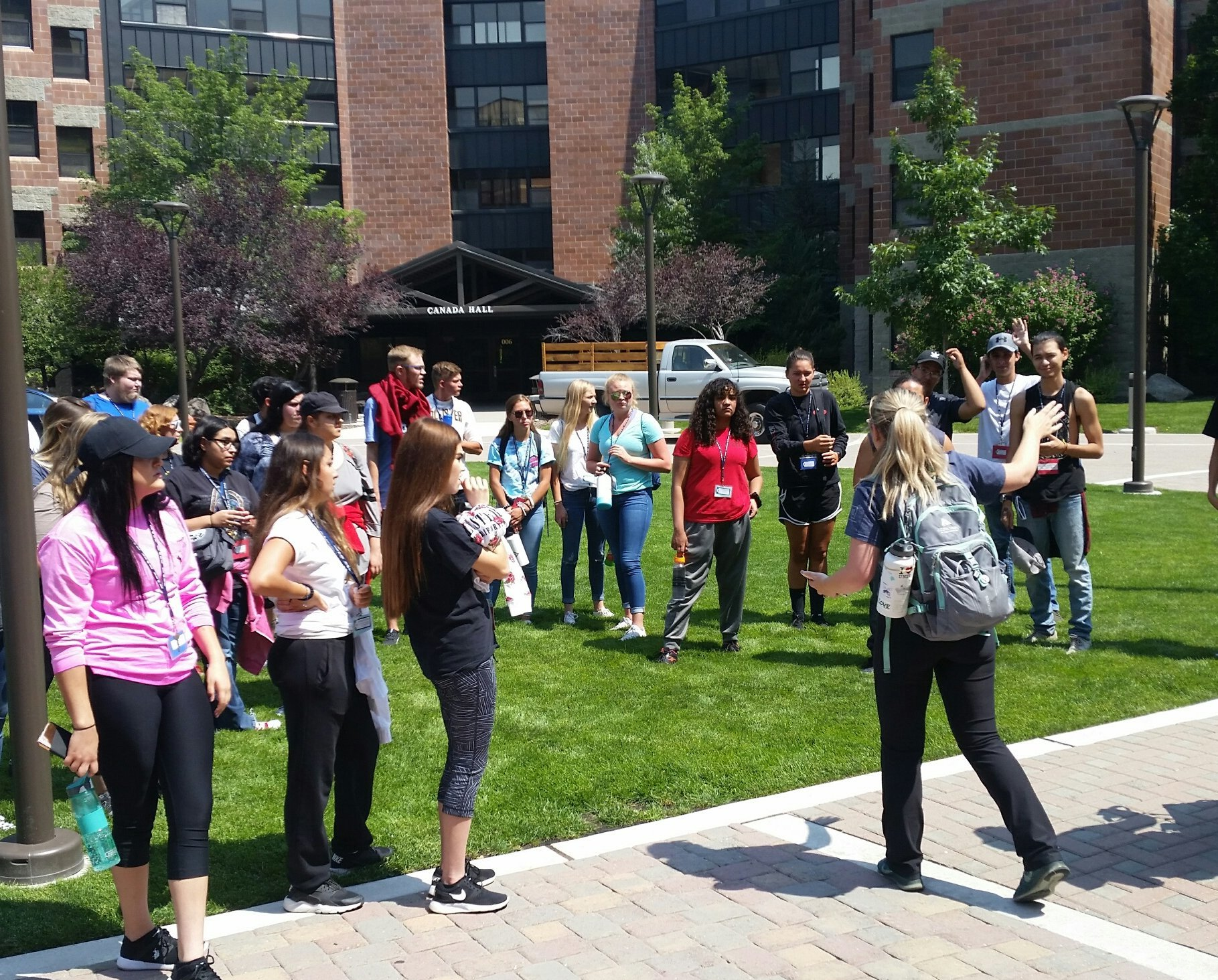 Potential students meet in the courtyard at UNR