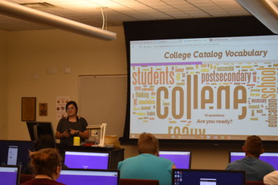Students attend a presentation about College Vocabulary