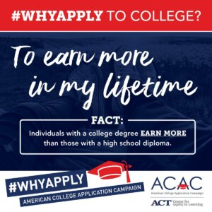 Tweet - Why apply to college? To earn more in my lifetime