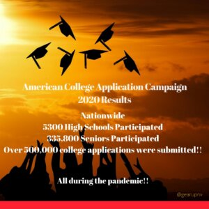 Tweet - American College Application Campaign 2020 Results: Nationwide 5300 High Schools participated, 335,800 seniors participated, over 500,000 college applications were submitted! All during the pandemic!