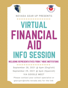 Virtual Financial Aid Info Session 2021 Flyer in English