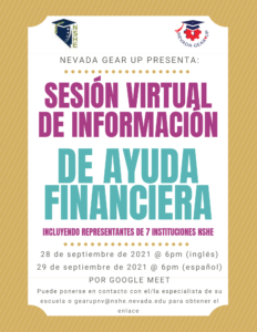 Virtual Financial Aid Information Session 2021 Flyer in Spanish